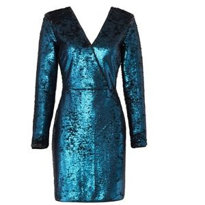 Adelyn Rae Turquoise Blue Black Sequin Dress S EUC